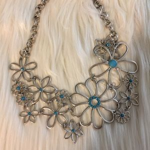 Floral Statement Collar Necklaces Silvertone 12